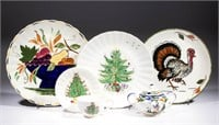 Large collection of Blue Ridge Pottery, founded as Southern Potteries in Erwin, Tennessee in 1916, including hand-painted designs such as the turkey and Christmas trees. From an Arizona private collection.