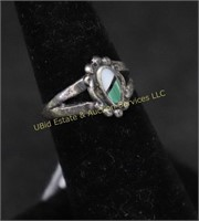 STERLING SILVER TURQUOISE RING SZ.5.25