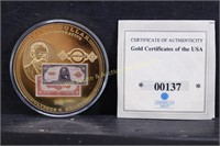 24kt GOLD LAYERED GOLD CERFITICATES COMM COIN wCOA