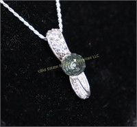GREEN STONE STERLING SILVER NECKLACE