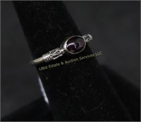 AMBER STONE STERLING SILVER RING SZ.5.5