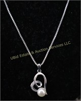 PEARL HEART STERLING SILVER NECKLACE
