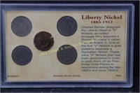 LIBERTY NICKEL COLLECTION w GOLD PLATED NICKEL