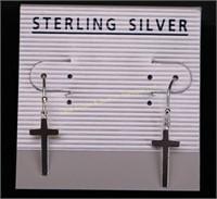 CROSS DANGLE STERLING SILVER EARRINGS