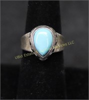TURQUOISE STERLING SILVER RING SZ.7.5