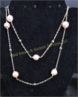 OVERLAY STERLING SILVER PEARL NECKLACE