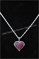 RUBY HEART STERLING SILVER NECKLACE