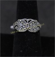 MARCASITE BUTTERFLY STERLING SILVER RING SZ.8