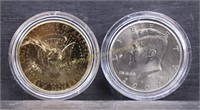 AMERICAN SPACE COIN COLLECTION w GOLD PLATED JFK