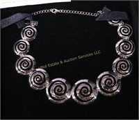 STERLING SILVER GRADUATED SPIRAL NECKLACE w  COA