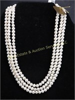 NWT..THREE STRAND PEARL NECKLACE w 14kt CLASP