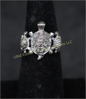 STERLING SILVER TURTLE RING SZ.7.5