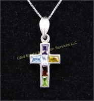 MULTI STONE STERLING SILVER NECKLACE