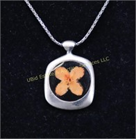 INLAY FLORAL STERLING SILVER NECKLACE