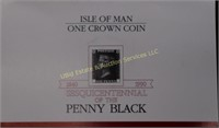 1990 PENNY BLACK ISLE F MAN ONE CROWN COIN