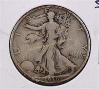 1936-S WALKING LIBERTY SILVER HALF DOLLAR