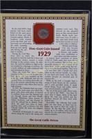 1929 1937 BUFFALO NICKEL w  STAMP & INFORMATIVE