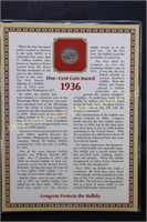 1936 1937 BUFFALO NICKEL w  STAMP & INFORMATIVE