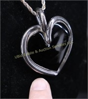 BLACK HEART STERLING SILVER NECKLACE