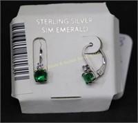 SIM.EMERALD STERLING SILVER EARRINGS