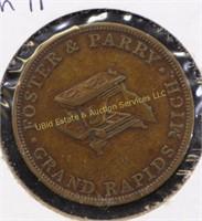 FOSTER & PARRY MERCHANT TRADE TOKEN GRAND RAPIDS
