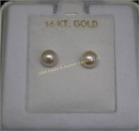 14kt GOLD PEARL EARRINGS