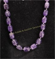 LG.AMETHYST STONE STERLING CLASP NECKLACE