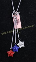 RED,WHITE & BLUE STAR STERLING SILVER NECKLACE