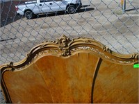 Vintage Double Size Bed Frame with Leather Ottoman