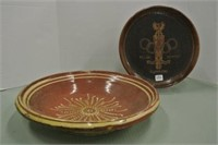Wooden Plate, Clay Bowl Lot