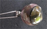 Sterling silver brooch, necklace and spoon
