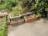 Estate lot of outdoor flower pots and iron stand