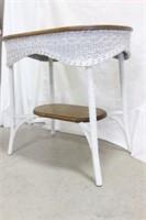 Wicker and Oak Oval Table