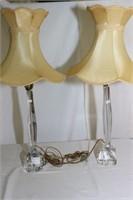French Glass Table Lamp Pair - Daum