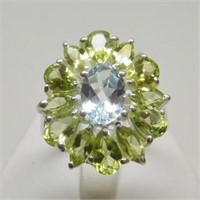 Natural Blue Topaz, Peridot Ring