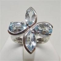 Natural Blue Topaz Gemstone Ring