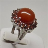 Natural Carnelian Garnet Ring