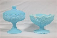 Blue Satin Glass Compotes