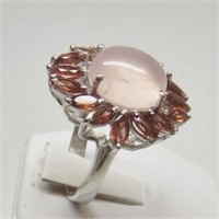 Natural Rose Quartz, Garnet Ring