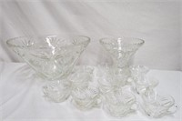 2 punch bowls with 11matching cups