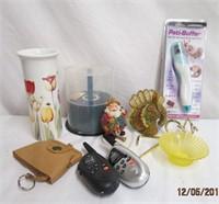 Pedi Buffer, blank CD,s, flower vase, figurines,