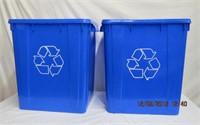 """2 recycling bins 18.5 X 15.5 X 21""""H"""