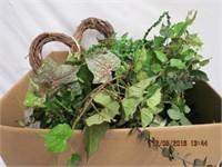 Box of silk greenery