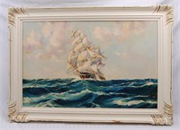 Ship Painting Oil on Board
