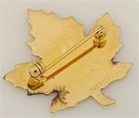 G/W Sterling Maple Leaf Brooch