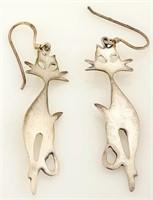 Sterling Earrings Cat Motif