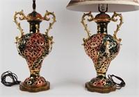 Ornate Capodimonte Table Lamps