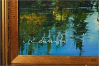 Oil on Canvas Mountain Lake Scene