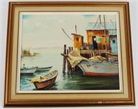 Vintage Signed Oil On Canvas