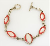 Mother of Pearl and coral Bracelet